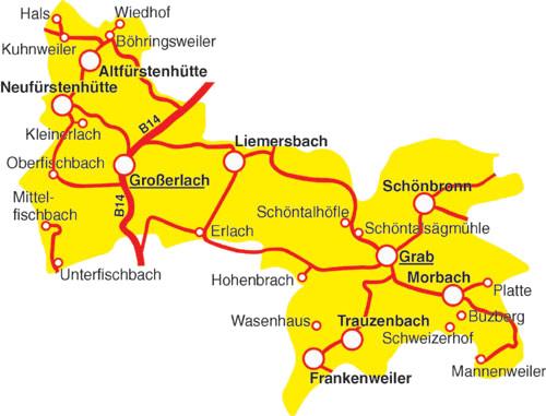 Gemeinde Großerlach mit 26 Teilorten und Gehöften